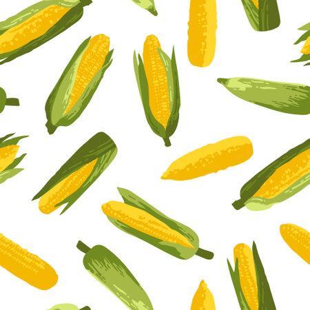 Vector summer pattern with sweet corns. Seamless texture design. Ilustração