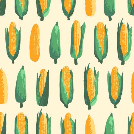 Vector summer pattern with sweet corns. Seamless texture design. Imagens - 162790276