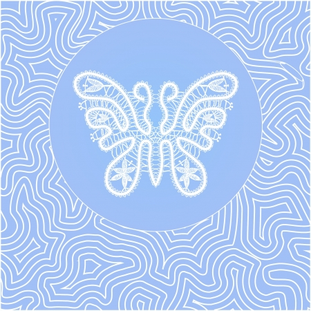 white lace butterfly in blue circle on a blue background Vector