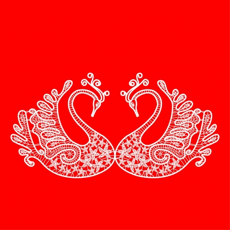 women subtle: Two white lace swan on red background Illustration
