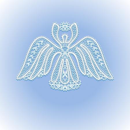 空のクリスマスの星と白いレースの天使  イラスト・ベクター素材