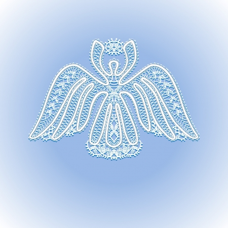 white lace angel with Christmas star in the sky Stock Vector - 16777989