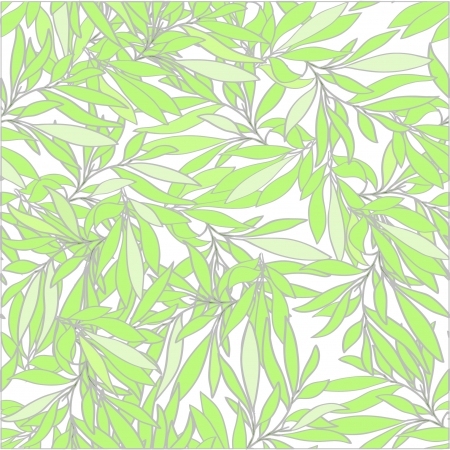 seamless background with branches and green leaves in pastel colors