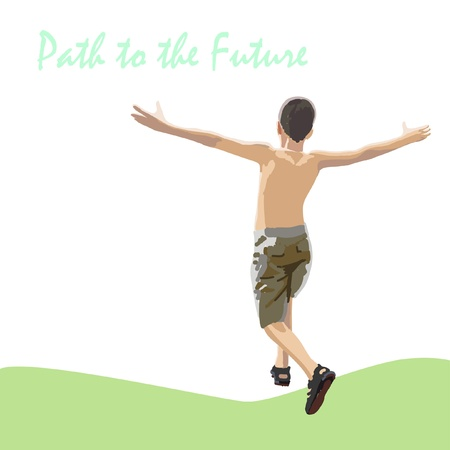 Jongen loopt, springt de kwadratuur van de arm Uitzicht vanaf de achterkant Een jongen gekleed in korte broek en sandalen zomer