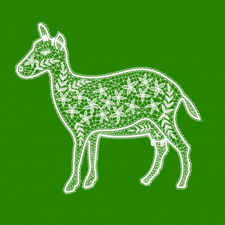 lacy white goat on a green background Vector