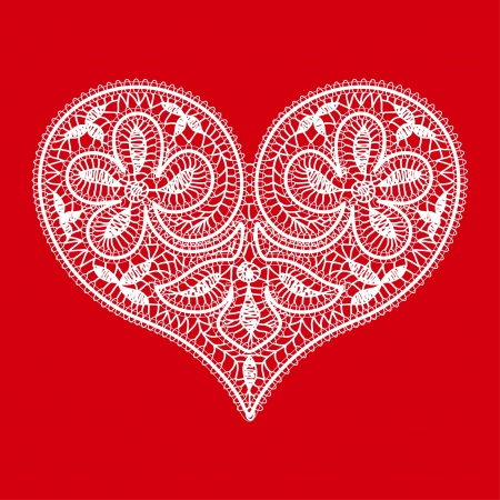 openwork lace white heart on a red background to the Valentine s Day Vector