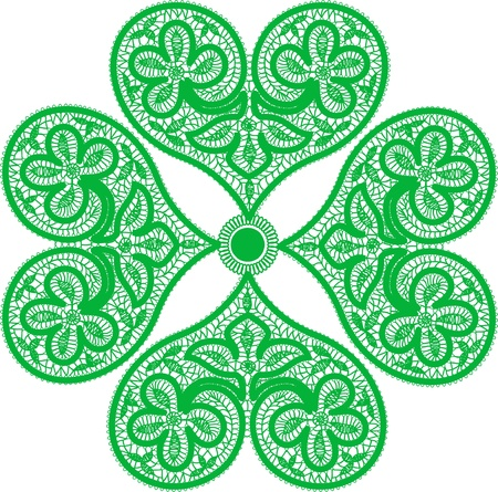 leaf clover made up of red fishnet hearts - symbol of good luck Vector
