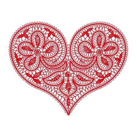 openwork lace red heart on a transparent background to the Valentine's Day