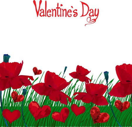 Frame of red poppies and hearts on a background of grass on a transparent background for Valentines Day Vector