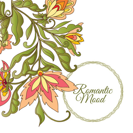 mendi: Vintage Flowers Design Vector Element with Text Place for invitations and cards Illustration