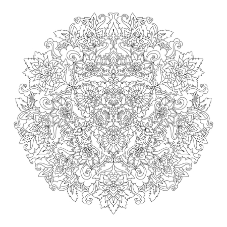 Coloring book page for adults with color sample. Mandala with vintage flowers pattern. Zendala.