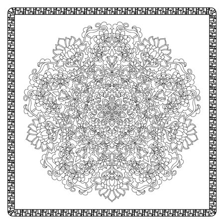 adult: Coloring book page for adults with color sample. Mandala with vintage flowers pattern. Zendala.