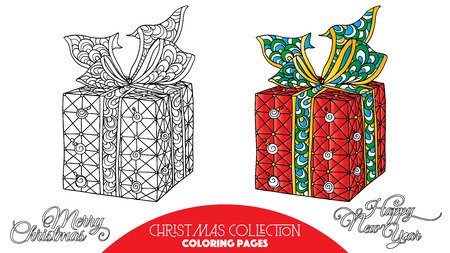 Coloring book for adult and older children. Coloring page with Christmas decorative elements. Outline drawing with colored sample