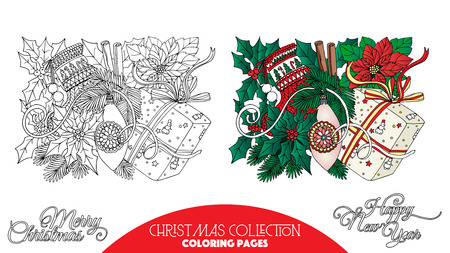 coloring page: Coloring book for adult and older children. Coloring page with Christmas decorative elements. Outline drawing with colored sample