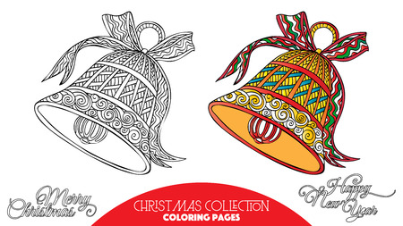 books new books: Coloring book for adult and older children. Coloring page with Christmas decorative elements. Outline drawing with colored sample