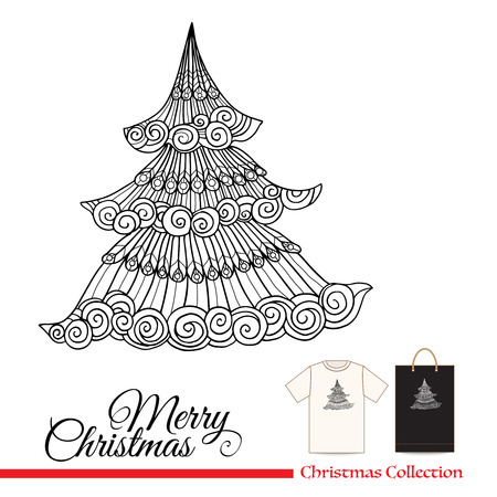 tshirt design: T-shirt design or plastic or paper bag design with Christmas decorative elements in zentangle style