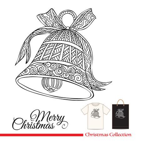 stile: Disegno della maglietta o un disegno sacchetto di plastica o di carta con elementi decorativi di Natale in stile zentangle Vettoriali