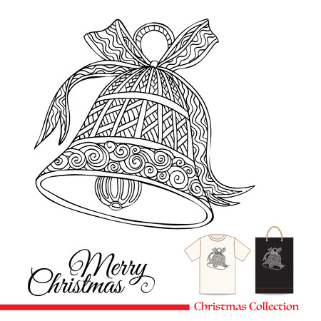 style: T-shirt design or plastic or paper bag design with Christmas decorative elements in zentangle style