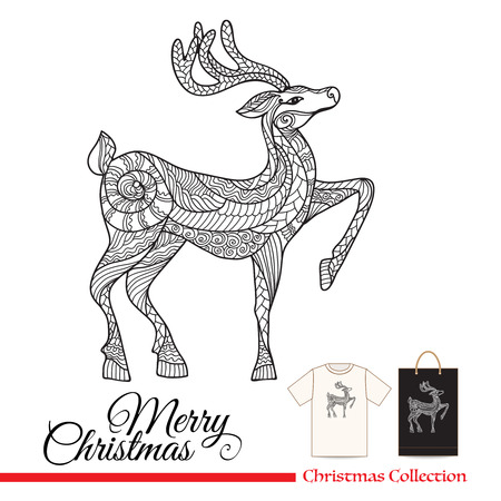 plastic christmas tree: T-shirt design or plastic or paper bag design with Christmas decorative elements in zentangle style