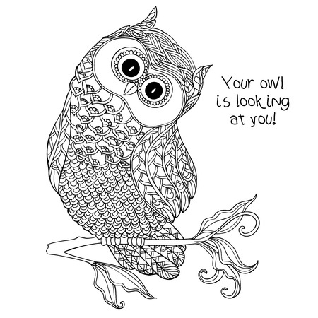 cute tattoo: Coloring book for adult and older children. Coloring page with cute owl.  Outline drawing in zentangle style