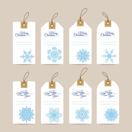 tally: Christmas gift tags with hand drawn decorative elements. Blue snjwflakes on white background.