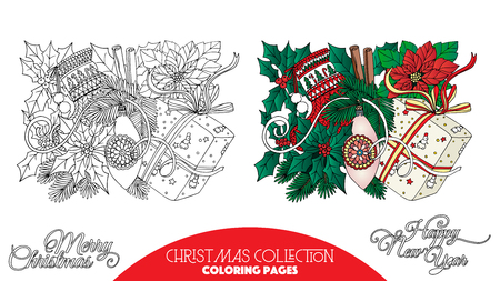 cartoon trees: Coloring book for adult and older children. Coloring page with Christmas decorative elements. Outline drawing with colored sample