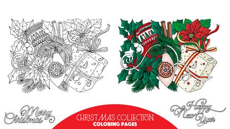 arboles caricatura: Libro para colorear para los adultos y niños mayores. Página para colorear con elementos decorativos de Navidad. Esquema de dibujo con la muestra de color