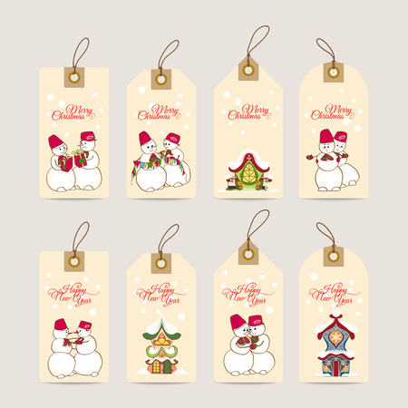 hause: Christmas gift tags with hand drawn decorative elements. Illustration