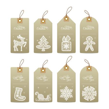 Christmas gift tags met kant hand getekend decoratieve elementen