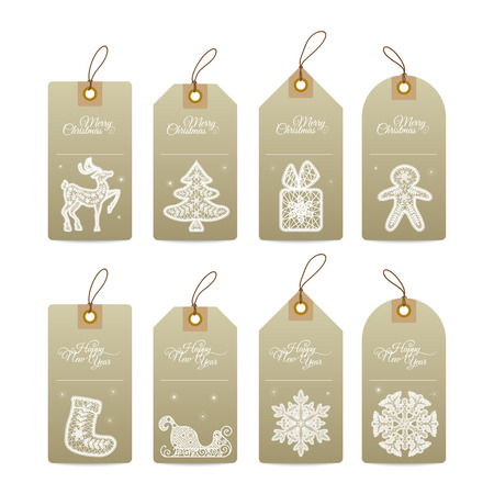 Christmas gift tags with  lace hand drawn decorative elements