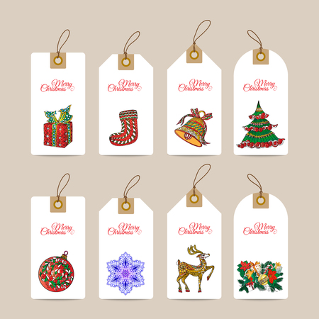 Christmas gift tags with hand drawn decorative elements