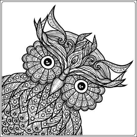 zentangle color coloring book for adult and older children coloring page with cute owl - Zentangle Coloring Book
