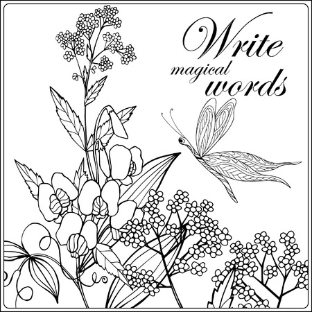 superscription: Decorative flowers, birds and butterflies. Coloring book for adult and older children. Coloring page with space for text. Outline drawing. Vector illustration.
