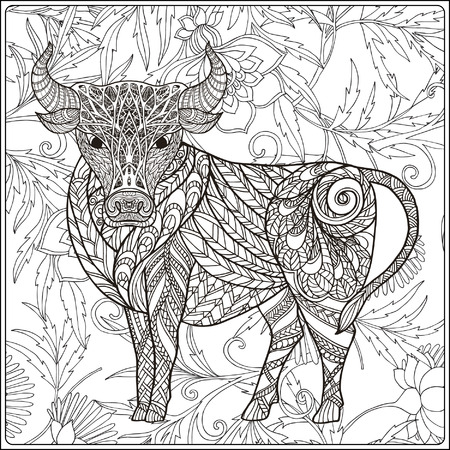 decorative line: Cow on floral background. Coloring book for adult and older children. Coloring page. Outline drawing. Vector illustration. Illustration