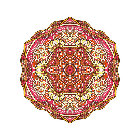 amulet: Vector Beautiful Colored Deco Mandala, Patterned Design Element, Ethnic Amulet Isolated vector illustration.