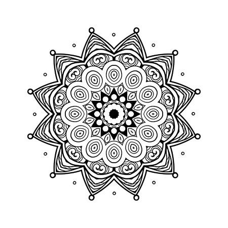 dessin au trait: mandala décoratif. Dessin au trait. Illustration