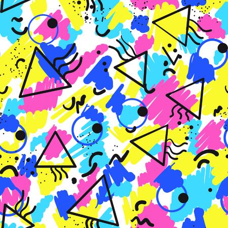 Retro vintage 80er oder 90er Jahre Mode-Stil abstrakte nahtlose Muster Hintergrund. Gut für Textilgewebe Design, Packpapier und Website-Tapeten. Vektor-Illustration. Standard-Bild - 57225819