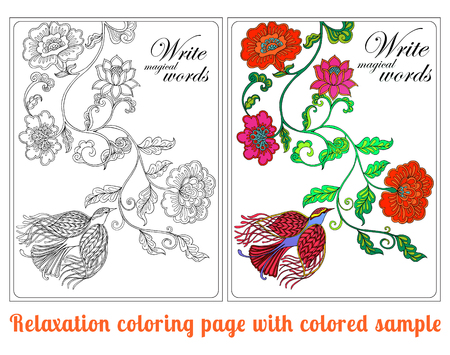 superscription: Decorative flowers and birds. Coloring book for adult and older children. Coloring page with space for text, with colored sample Outline drawing. Vector illustration. Illustration