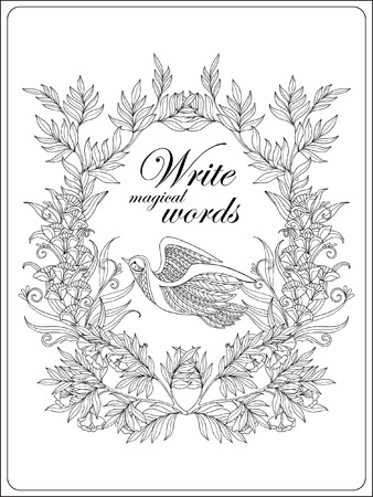 Decorative flowers and bird. Coloring book for adult and older children. Coloring page with space for text. Outline drawing. Vector illustration.