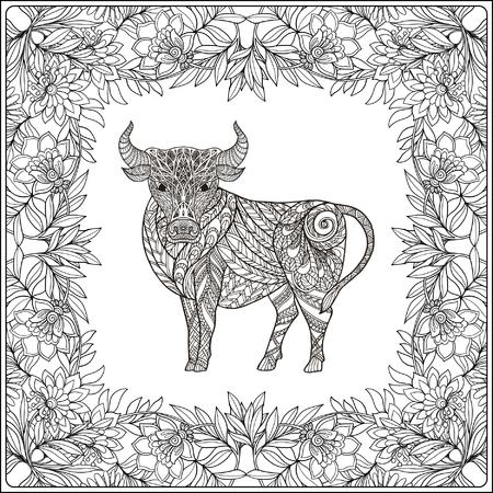 Cow in floral frame. Coloring book for adult and older children. Coloring page. Outline drawing. Vector illustration. Vektorové ilustrace