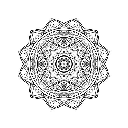 dessin au trait: Decorative mandala. Outline drawing.