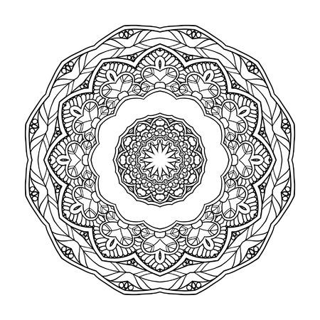 serviette: Decorative mandala. Vector illustration. Good for coloring book for adult and older children. Coloring page. Outline drawing.