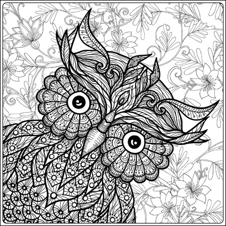 color page: Coloring book for adult and older children. Coloring page with cute owl on floral background. Outline drawing in zentangle style