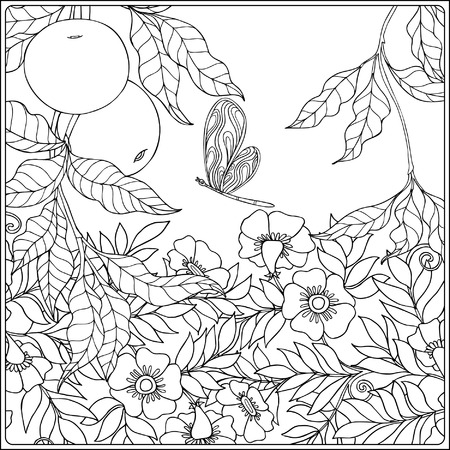 Decorative Flowers And Birds Coloring Book For Adult And Older