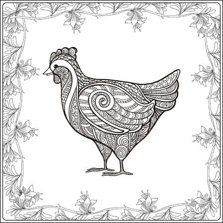 vector illustration  hen: Hen in floral frame. Coloring book for adult and older children. Coloring page. Outline drawing. Vector illustration. Illustration