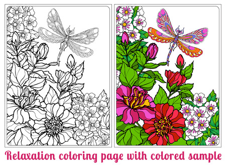 vector sample: Decorative flowers, birds and butterflies. Coloring book for adult and older children. Coloring page with colored sample. Outline drawing. Vector illustration. Illustration