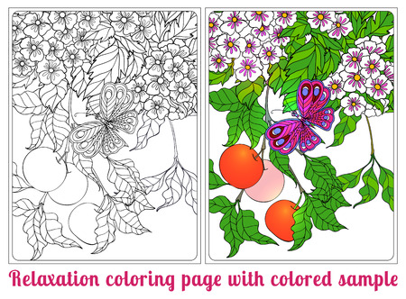 Decorative Flowers And Bird Coloring Book For Adult And Older