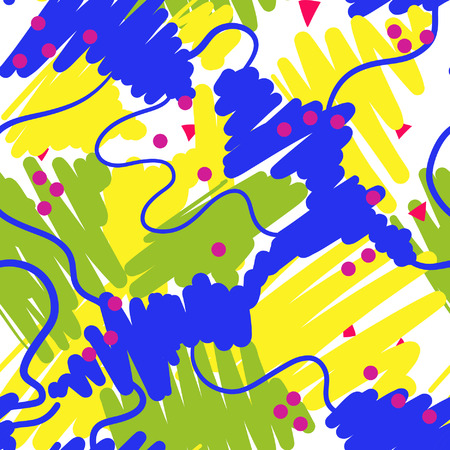 90s: Retro vintage 80s or 90s fashion style abstract seamless pattern background. Good for textile fabric design, wrapping paper and website wallpapers. Vector illustration.