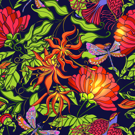 repeating background: Tropical forest seamless pattern. Flowers, birds, butterflies and dragonflies. Vector illustration.