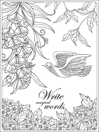 Decorative Flowers And Bird Coloring Book For Adult Older Children Page With